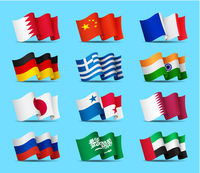 Set of waving flags icons isolated, official symbols of countrys, vector illustration.