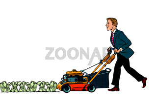 Businessman cuts money like a lawnmower man. Isolate on white ba