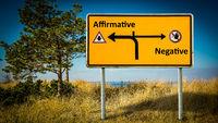 Street Sign to Affirmative versus Negative