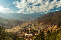 Cloudy Paro valley before sunset