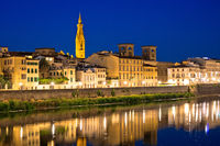 Arno river waterfront in Florence evening view