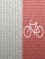 top view of red bicycle lane
