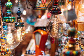 The store is decorated with electric light bulbs