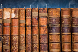 Antique books on shelf in a library