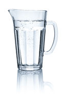 Pitcher with water on a white background