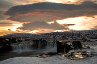 Godafoss waterfall at sunset, Iceland