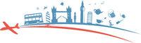 United Kingdom flag symbol element with aeroplane