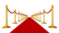 Red carpet and pillars with red ropes