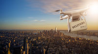 Drone flying with package over Manhattan