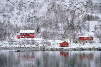 Rd rorbu houses in Norway in winter