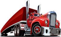 Cartoon retro semi truck isolated on white