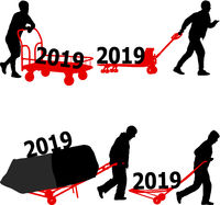 Stylish calendar with silhouette hard worker pushing wheelbarrow and carry big box for 2019