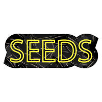 Yellow Letters on Sunflower Black Seed Pattern