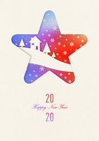 Happy new year 2020 rainbow vintage card