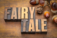 fairy tale word abstract in vintage wood type