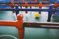 Soccer table game, blue foosball player.