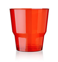 Red empty transparent plastic cup