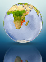 Mozambique on globe