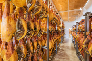 Spanish ham cellar. Food industry