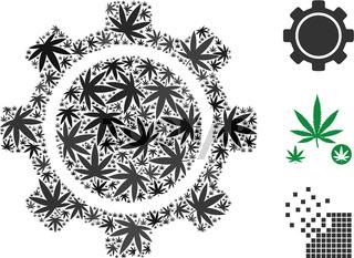 Gear Mosaic of Weed Leaves