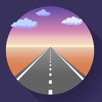 Landscape with sky and clouds, land and asphalt road with marking, empty highway in desert, vector illustration.