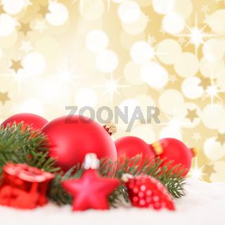 Weihnachten rote Weihnachtskugeln Weihnachtsdeko Weihnachtsdekoration Gold Dekoration Sterne Quadrat Textfreiraum Copyspace