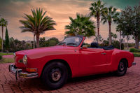 Old Vintage Car Parked in Tropical Palm Tree Landscape Late Afternoon Sunset Beach Life Automobile