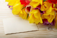 Colorful tulips and blank greeting card on natural wooden background with space for text