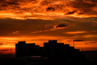 Sunset View of a Public Housing Construction