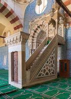 Blue ceramic tiles, Engraved Mihrab (niche) and decorated marble Minbar (Platform), Mosque of Aqsunqur (Blue Mosque), Cairo, Egypt