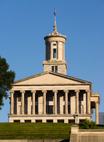 The Tennessee Capitol Building Stands In Nashville Under Blue Skies