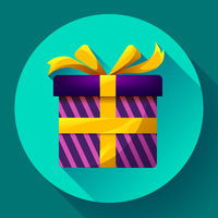 Gift box Icon flat Vector
