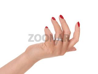 Woman's hand with red fingernails over white