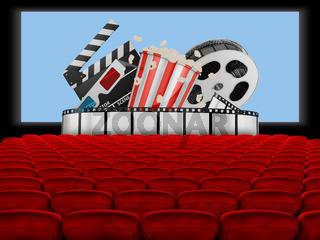 Cinema hall with popcorn