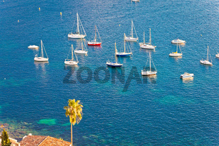 Villefranche sur Mer idyllic French riviera bay sailing destination from above