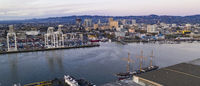 Aerial View Oakland Inner Harbor Port City Downtown Skyline