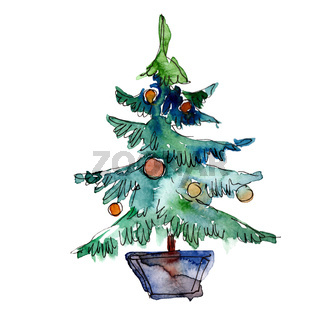 Christmas trees winter holiday symbol in a watercolor style isolated.