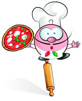 fun pizza chef cartoon on rolling pin  .eps