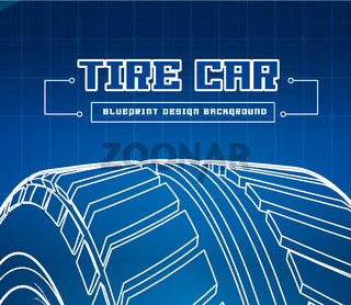 Car tire with tire marks on a blue background. Vector blueprint illustration