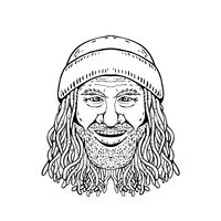 Rastafarian Dude Head Front Drawing Black and White