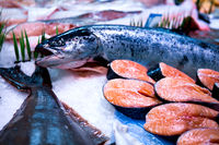 Fresh salmon display on English Market for sale. Cork/Ireland