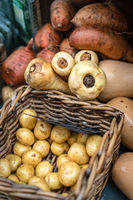 Red and white potatoes on sale