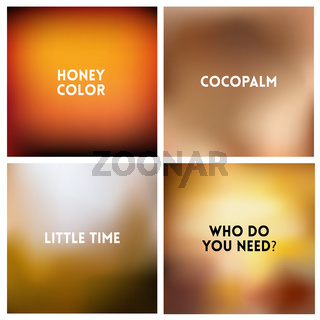 Abstract vector brown blurred background set