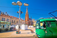 Osijek main square cathedral and tram view