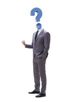 Businessman with question mark instead of his head