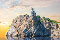 Swallow Nest on the rock in Crimea, beautiful sunset view