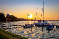 Sunrise at Palic lake harbor near town of Subotica view