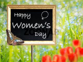 Black chalkboard with text Happy women's day