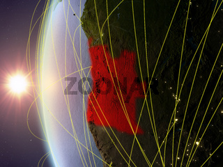 Angola from space with network