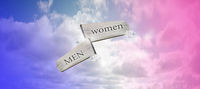 Men women sign with blue and pink sky, space for text